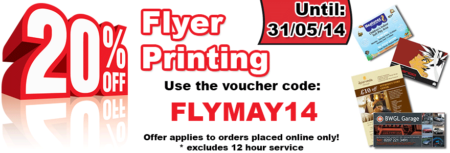 20% OFF Leaflet Printing in May - FLYMAY14