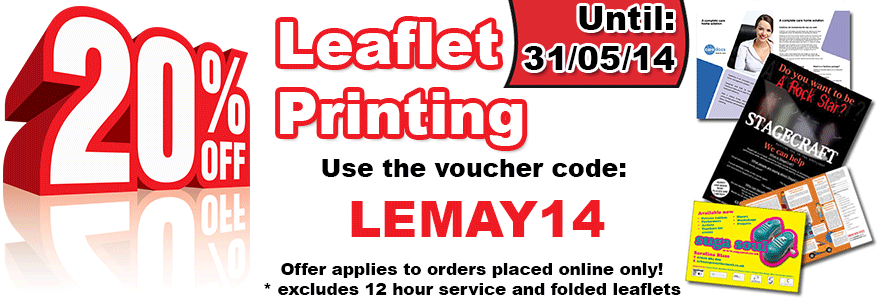 20% OFF Leaflet Printing in May - LEMAY14